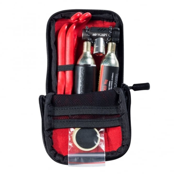 C02 air pump set with regulator, tyre levers, CO2 canisters and storage pouch
