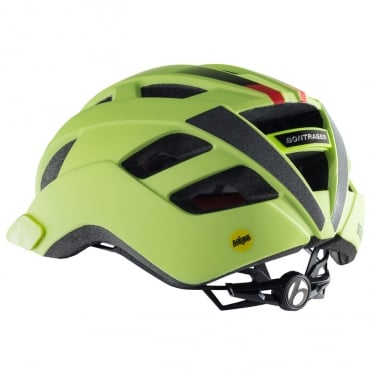 Solstice hi-vis yellow cycle helmet with multi-directional impact protection system (MIPS)