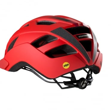 Solstice red cycle helmet with multi-directional impact protection system (MIPS)