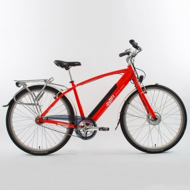 Stylish red gents electric bike with front 250w motor