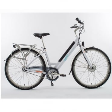 Stylish white step through electric bike with front 250w motor