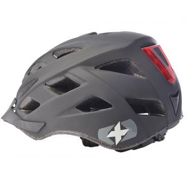 Metro V matt black cycle helmet with integrated LED rear light