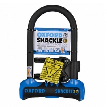 Shackle 14 bicycle D-lock Sold Secure gold level security - 260mm blue/black