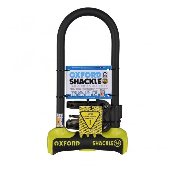 Shackle 14 bicycle D-lock Sold Secure gold level security - 320mm yellow/black