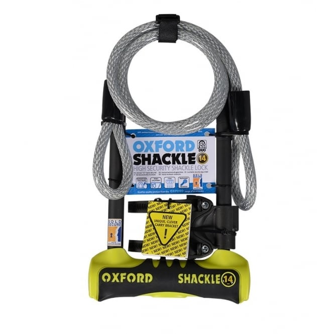 Shackle 14 DUO bicycle D-lock with 1.2 metre x 12mm cable - 320mm shackle yellow/black