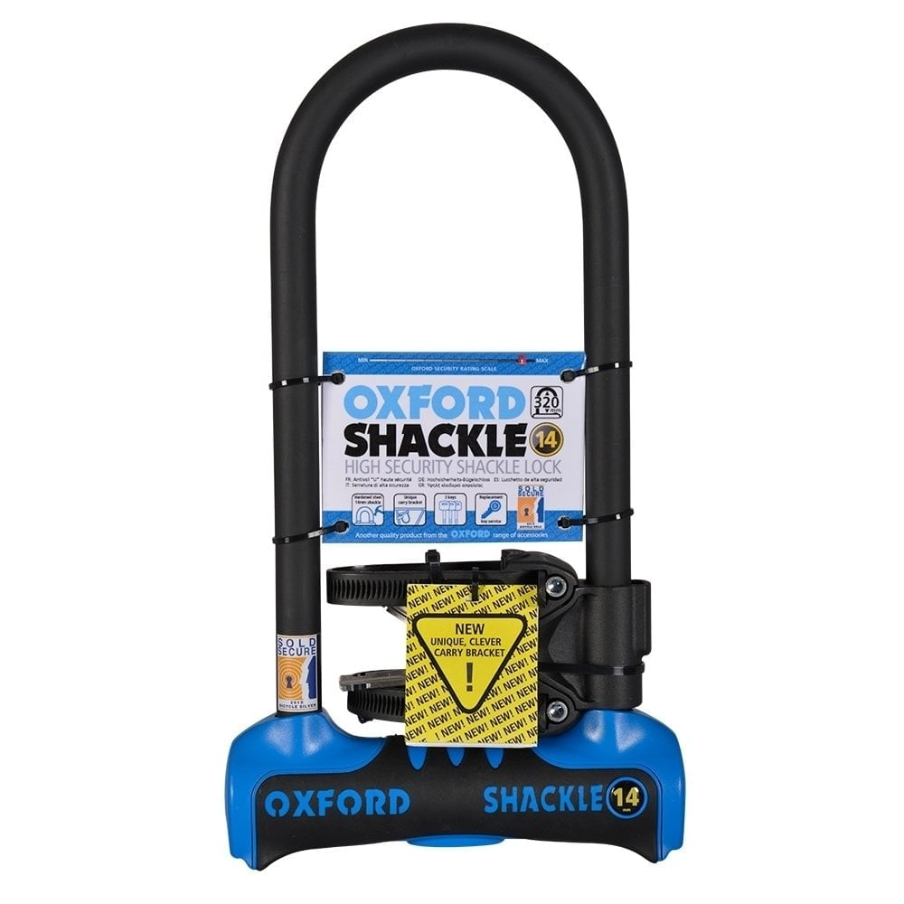 14ce76fa3c0 Oxford Products Shackle 14 bicycle D-lock Sold Secure gold level security -  320mm blue/black